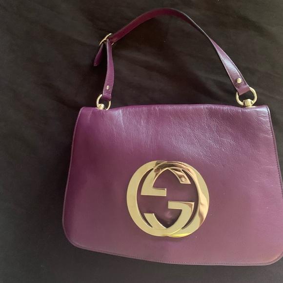 Auth Gucci purple leather flap over shoulder bag